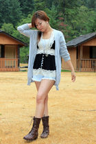 black Forever21 blouse - brown Forever21 boots - blue vintage shorts