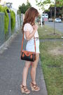 Beige-forever-21-blouse-blue-vintage-shorts-brown-dooney-burke-purse