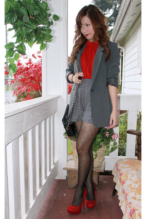 ruby red shoes - charcoal gray H&M blazer