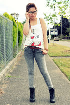 gray Forever21 pants - red Heritage belt - white Heritage shirt - black Soda boo