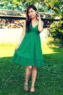 Green-forever21-dress-black-target-shoes