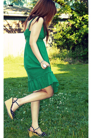 green Forever21 dress - black Target shoes