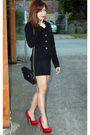 Red-no-brand-shoes-black-forever-21-jacket-black-chanel-purse