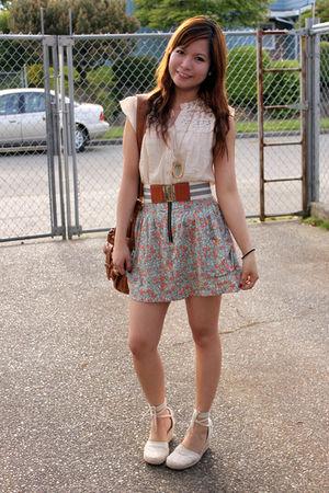beige Forever21 blouse - beige Heritage skirt