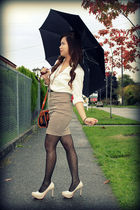 beige shoes - beige Anne Taylor blouse - beige Forever 21 skirt