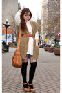 Dark-khaki-qi-cashmere-cardigan-brown-aldo-clogs-bronze-eddie-bauer-belt