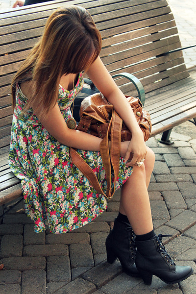 brown Forever21 purse - black boots - pink Heritage 1981 dress