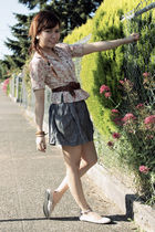 gray Forever21 skirt - beige DKNY blouse - beige Forever21 shoes - brown vintage