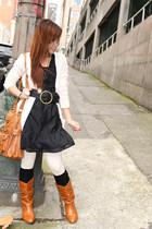 black Forever 21 dress - peach Forever21 cardigan - tawny Forever 21 purse