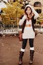 Tan-ross-sweater-tan-love-culture-hat-brown-hallogen-cardigan