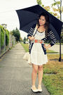 Beige-ross-shoes-white-forever-21-dress-blue-forever-21-cardigan