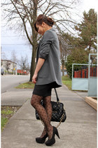 heather gray H&M blazer - black Forever 21 dress