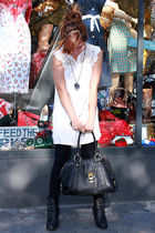 black Aldo purse - beige Forever21 blouse - black shoes