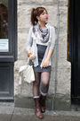 Beige-wetseal-scarf-gray-forever21-skirt-brown-forever-21-shoes