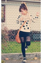 cream Forever 21 sweater - black Forever 21 stockings