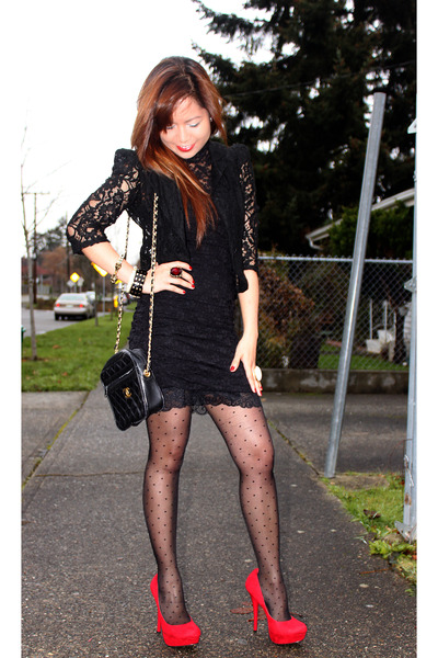 black lace Forever 21 dress - black H&M dress - black Forever 21 blazer