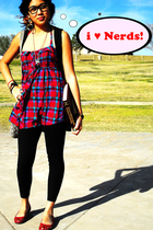 red Forever21 shoes - Forever21 dress - Forever21 vest - vintage accessories