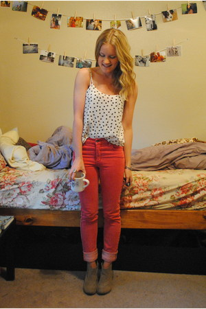 red thrifted jeans - camel Charlotte Russe boots - white Forever 21 shirt