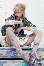 graffiti stockings - jacket - skirt