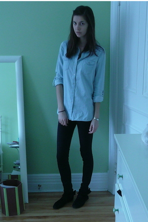 blue H&M top - black Topshop jeans - black Minnetonka boots