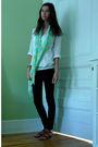 White-jcrew-blouse-white-american-apparel-top-black-forever-21-jeans-brown