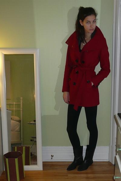 red Mango coat - black Zara leggings - black vintage from Wasteland boots