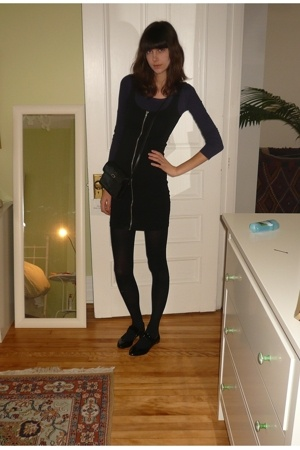 black simons tights - purple H&amp;M - black zipper dress H&amp;M
