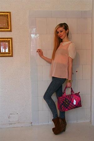 Primark boots - pull&bear jeans - trademark vivienne westwood bag