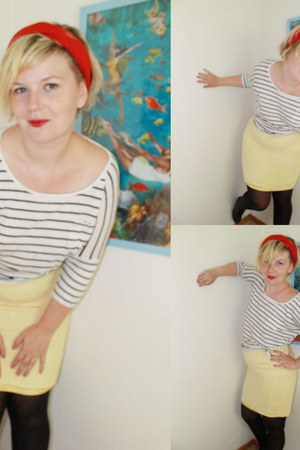 striped GINA TRICOT shirt - red 2hand scarf - pencil 2hand skirt - Nelly wedges