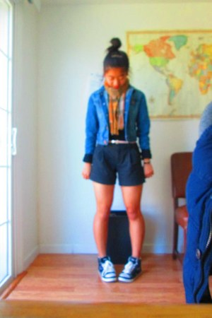 Gap jacket - Wet Seal shirt - Thrift Shop scarf - Gap shorts - Forever 21 belt