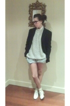 Zara blazer - Daddys closet jacket - DIY shorts - Calzedonia socks - Chapin shoe