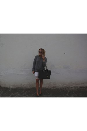 white skirt - black Michael Kors bag - black heels