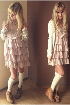 cream Bershka sweater - mustard ryko boots - light pink H&amp;M dress