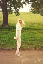 ivory Bershka shirt - light pink Zara pants - cream deezee flats