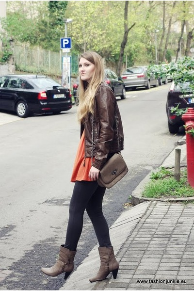 carrot orange AX Paris dress - brown Bershka jacket