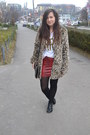 Light-brown-pull-bear-coat-ruby-red-new-yorker-skirt