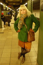 camel Top Shop boots - olive green London Fog coat - tan vintage bag