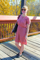 bubble gum silk sessun dress - black vintage purse - black tbar Topshop loafers