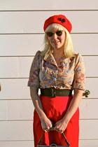 Tara Starlet blouse - ruby red wool beret Tara Starlet hat