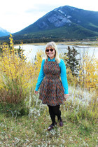 tan tapestry Dahlia dress - turquoise blue tweed Joe Fresh blazer