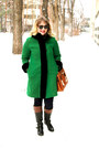 Black-leather-jockey-bandolino-boots-green-wool-vintage-coat