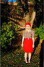 Red-beret-tara-starlet-hat-camper-heels-hey-day-vintage-repro-blouse-skirt