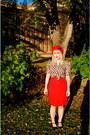 Red-beret-tara-starlet-hat-camper-heels-hey-day-vintage-repro-blouse-skirt