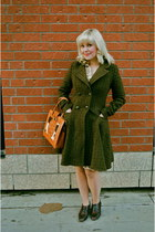 dark green tweed Top Shop coat - brown brogue Thrifted Clarks heels