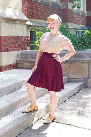 purple Top Shop skirt - peach leather Chie Mihara flats