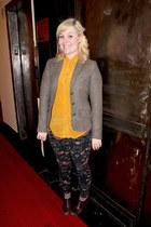heather gray tweed H&M blazer - gold silk Joe Fresh blouse
