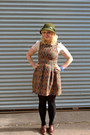 Light-orange-tapestry-dahlia-dress-olive-green-wool-cloche-vintage-hat