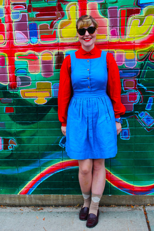 red vintage blouse - sky blue pinafore Jcrew dress