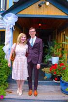 light pink cotton Tara Starlet dress - ivory Chelsea Crew heels