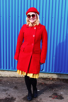 red Tulle coat - yellow vintage dress - ruby red Divided hat